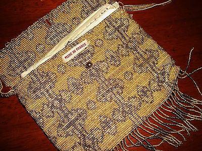 Elegante Borsa Vintage Francese Con Perline Oro Bronzo Kid Fodera In Pelle Palla Tlc- Materiali Di Alta Qualità Al 100%