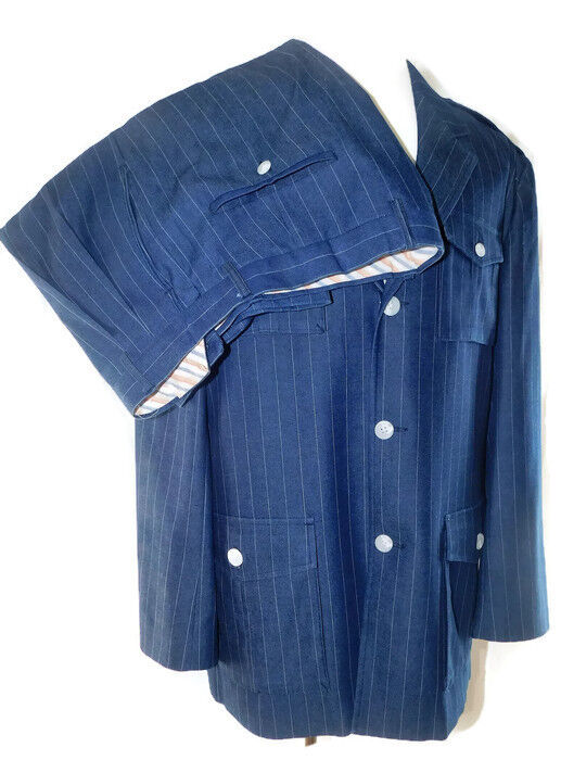 Giorgio Brutini Men's Pinstriped bluee Denim Epaulet Military Style Suit