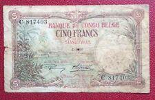 Congo Belge - Belgique - Rare Billet de 5 Francs  STANLEYVILLE du 4-7-1926