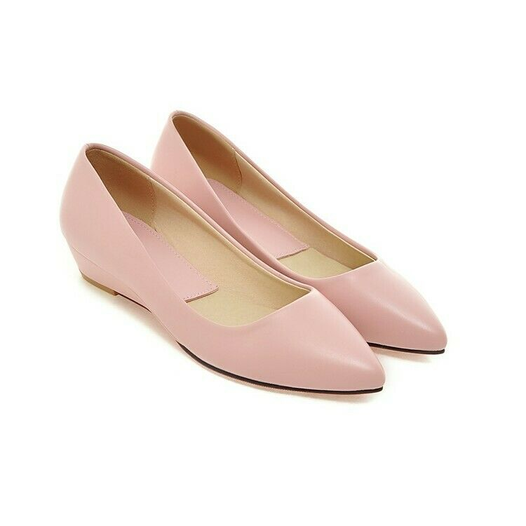 Fashion Womens Pointy Toe New Spring Dress Date shoes Low Wedge Heels Pumps Size