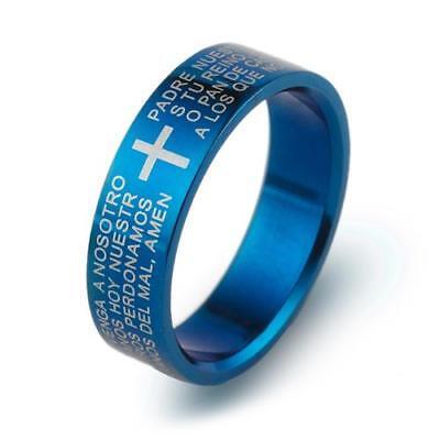 Ring Schmuck für Herren Ring Kreuz Stahl Platte Blau Bibel Gebet Notre Pere | eBay