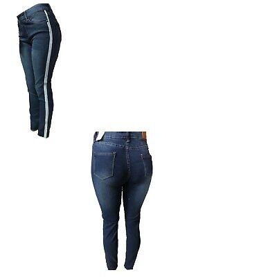 New Emma premium stretch med blue pin stripe basic skinny jean pants 7 15 | eBay