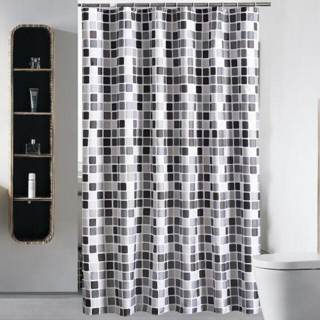 New 3D PVC Bathroom Shower Curtain Mosaic Waterproof Thicker Hooks 180x180CM