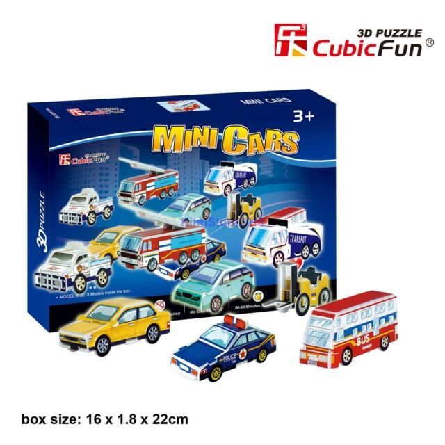 Cubicfun 3d Paper Puzzle Model Mini Police Car Bus Fire Engine Diy