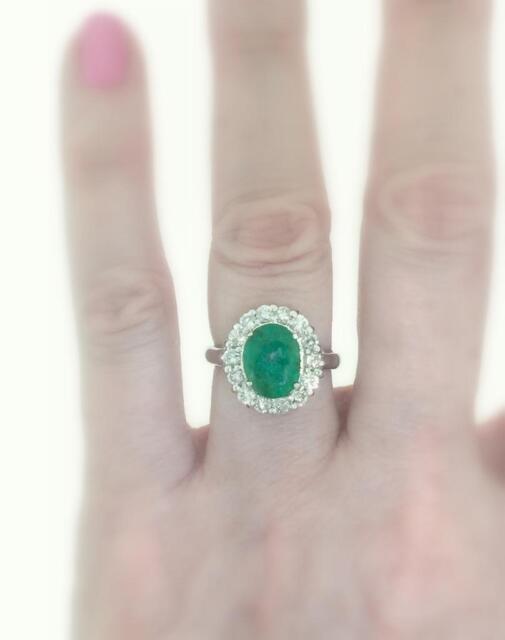 Emerald Diamond Ring 4ct Natural 14k White Gold