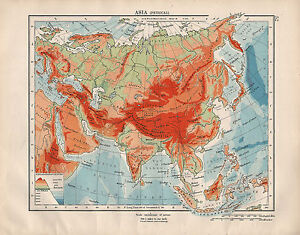 Map Of Asia 1914.1914 Map Asia Physical Land Heights Depths Mountains Himalaya
