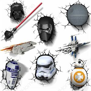 Star Wars Episode Vii 3d Wall Lights Bb 8 Stormtrooper R2 D2