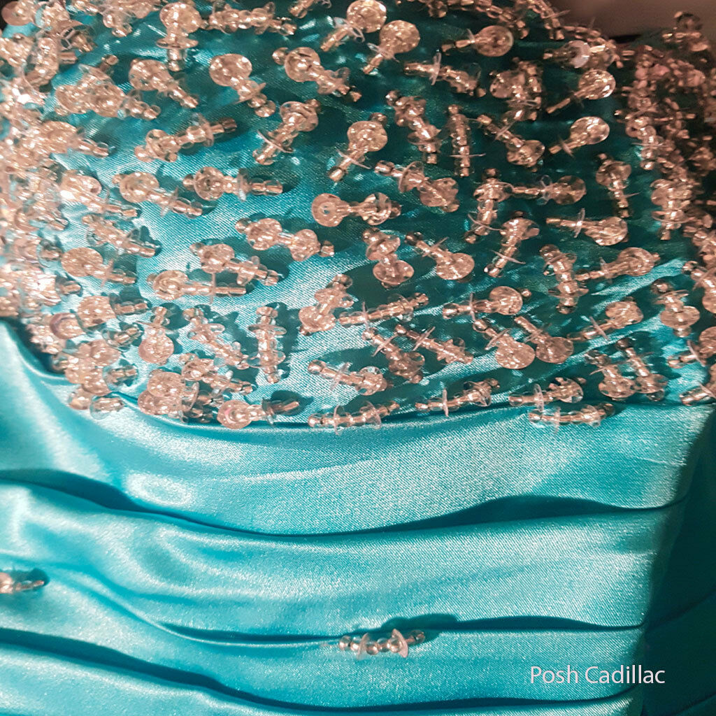 Handbeaded Coctail Prom Evening Formal Formal Formal Long Corset Cyan bluee Dress Ball Gown 62fd0e