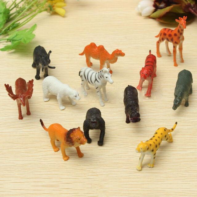 12pcs Plastic Zoo Safari Animals Toys Lion Tiger Leopard Hippo Giraffe Figures