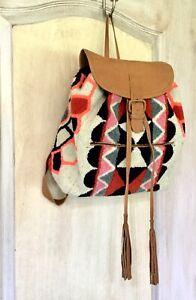 Cleobella-Backpack-Handbag-Tufted-Geo-tan-black-Leather