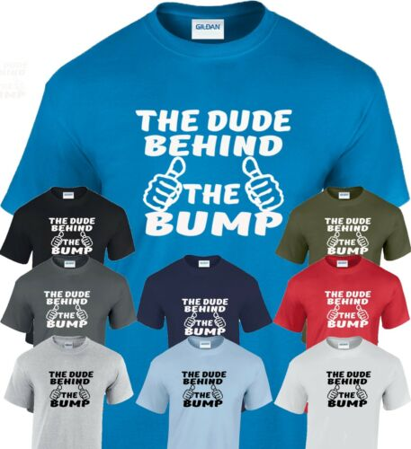 The Dude Behind the Bump T Shirt  Personalised Baby Dad Daddy to be Maternity
