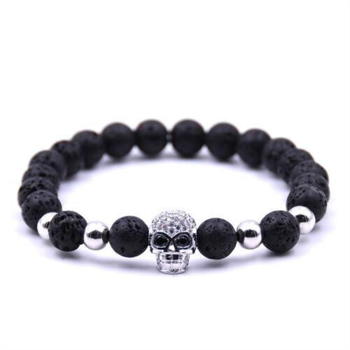 Charme Hommes Zircone Cubique Crâne Noir Lava Rock Pierre Perles Bouddha bracelet handmade Bijoux