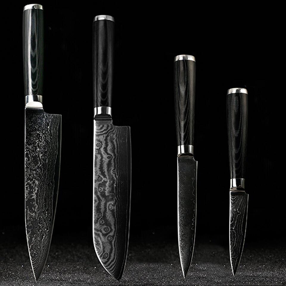 Japanese Damascus knives set 8 inch chef knife 7.5 inch santoku 5 inch utility 3