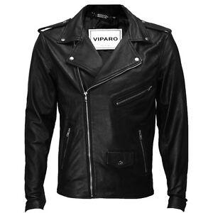 VIPARO-Mens-Black-Classic-Brando-Leather-Moto-Bike-Biker-Jacket-MB1