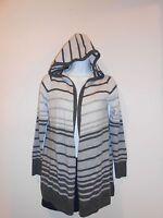 Fenn Wright Manson Xs 100% Wool Hooded Open Front Cardigan Gray/ Cream