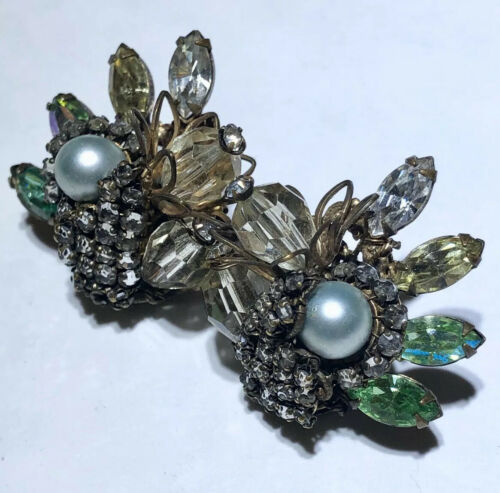 Vintage glass rhinestone crystal pearl filigree h… - image 1
