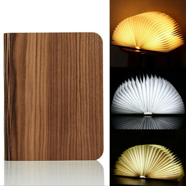 Wooden Folding LED Book Lamp Rechargeable Table Desk Fairy Decor Room Light Gift