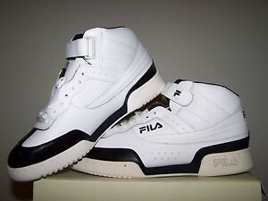 67cf54fc1d97 Men s NEW Fila F-13 White Shoes with Black Patent Leather Trim