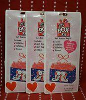 3x Gift Box Kit Bears Hearts Love Red Bag Ribbon Valentine Romance