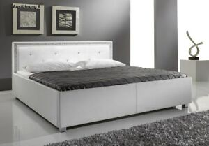 Image Is Loading Designer  Lederbett Mit SWAROVSKI Elements Leder Polsterbett Luxus