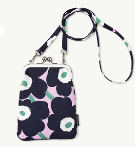 Marimekko-Rimmi-purse-bag-from-Finland-NWT-Mini-Unikko-pink-navy-blue