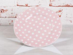 Krasilnikoff Kuchenteller PUNKTE Rosa Teller pink mit weißen Punkten Porzellan
