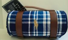 15120/ NEW Ralph Lauren POLO Blue White Plaid / Outdoor / Picnic Throw Blanket