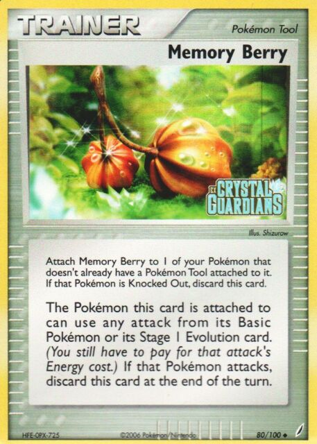 1x Memory Berry - 80/100 - Uncommon - Reverse Holo EX Crystal Guardians Pokemon