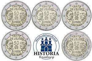 Deutschland-5-x-2-Euro-2013-Elysee-Vertrag-Mzz-A-D-F-G-J-bankfrisch-Komplettsatz