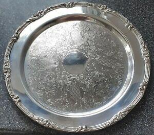 Large Vintage GALION Plaqué Argent Gravé Verre Platter Serving Tray SALVER