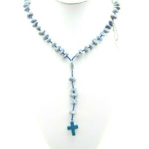 Blue Quartz Carved Cross Tumbled Rosary Religious Christian Jewelry