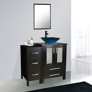 Bathroom Vanity 36 Inch W Small Cabine Mirror Glass Vessel Sink