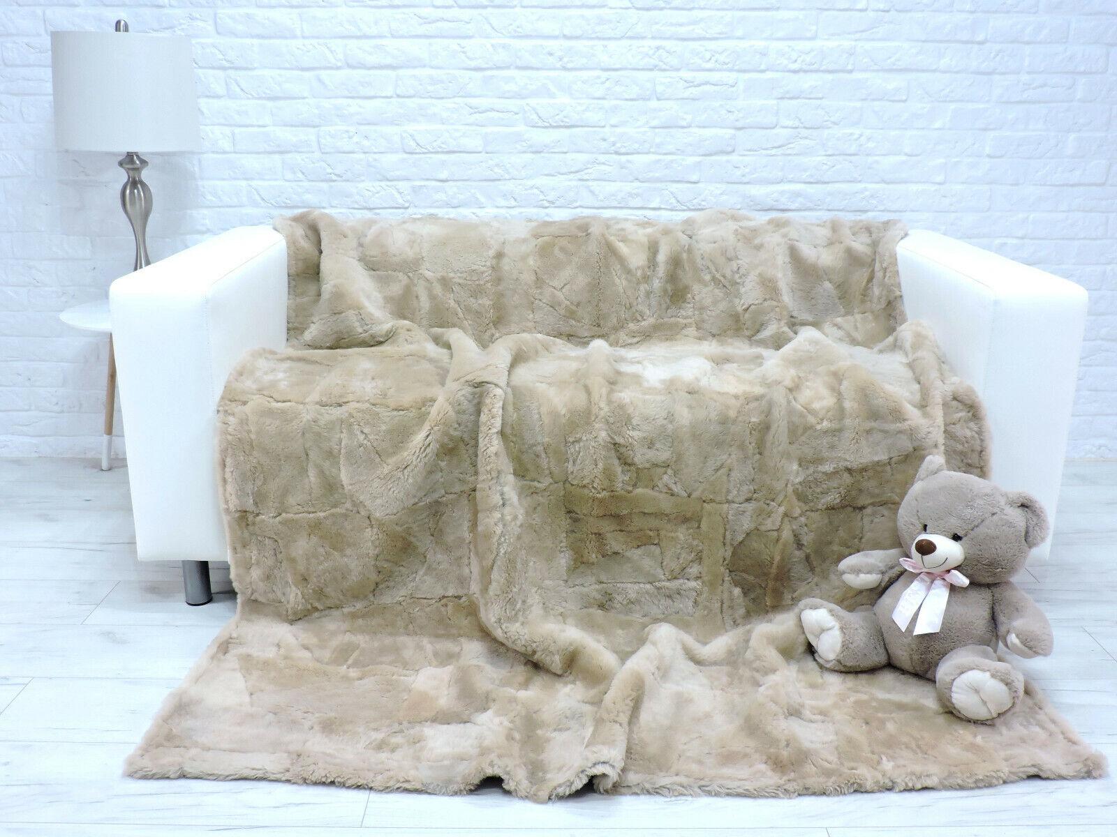 Echt Italienische Lammfell Vlies Fell Überwurf Beige Decke Sofa 374