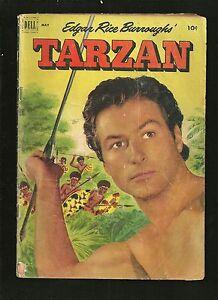 Tarzan-Dell-comic-1950-039-s-Lex-Barker-32-VG-Spear-cover