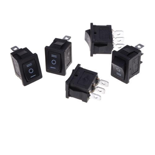 5pcs SPDT On//Off//On Mini Black 3 Pin Rocker Switch AC 6A//250V /& 10A//125V