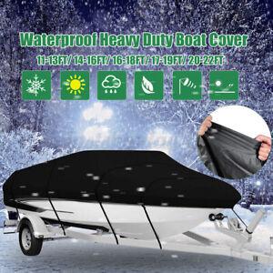 14-16ft Beam Heavy Duty Fishing Ski Speedboat Boat COVER Black Waterproof 210D Q