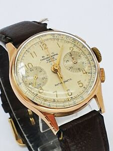 Seltener BWC-Swiss Chronograph Suisse 18k Gold Antimagnetic