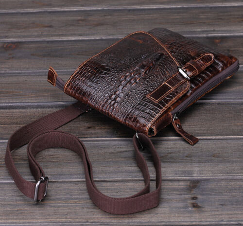 Men Genuine Leather Messenge Crocodile Pattern Small Cross body Shoulder  Bag