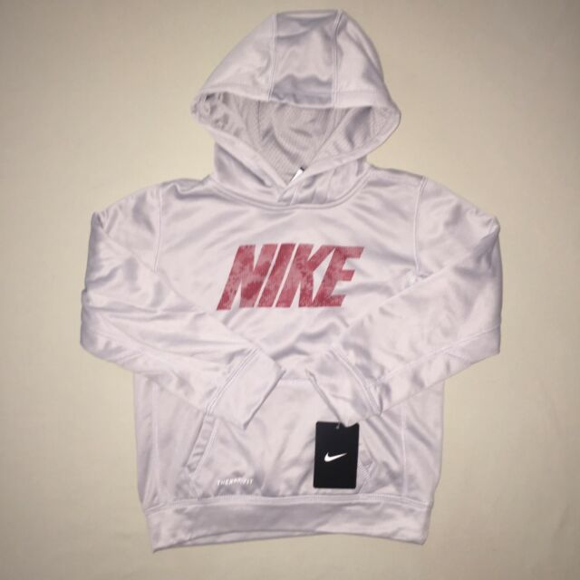 Nike Therma Boys Printed Training Hoodie Pullover Red Size 6