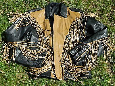 Generoso 1990's Uomo Unknown Nuovo 2 Tonalità Giacca Moto In Pelle Sz 42 Usato
