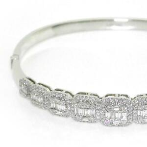 2-90-TCW-Round-amp-Baguette-Cut-Diamonds-Bangle-Bracelet-In-Solid-14k-White-Gold