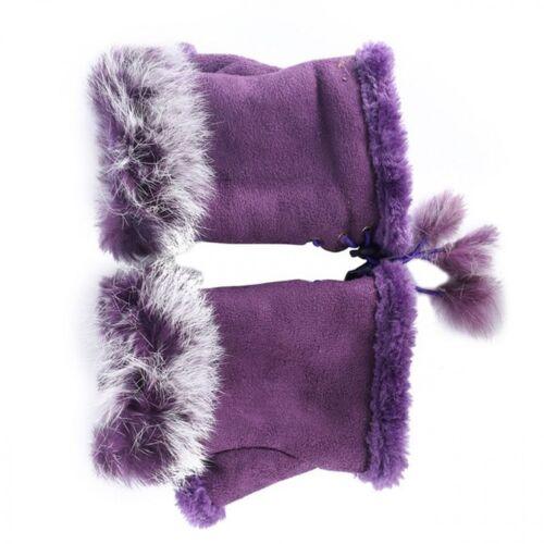 Women Finger Less Gloves Winter Warmer Faux Rabbit Fur Hand Fashion Wrist Glove
