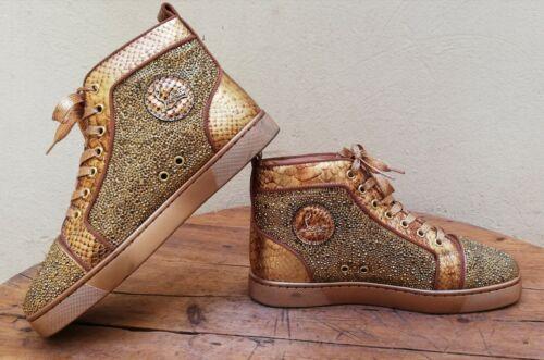 Christian Louboutin High Tops Men Shoes Gold Stras