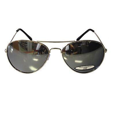 Mirror Lens Aviator Sunglasses Men Women Pilot Silver Retro 58mm Metal Frame New
