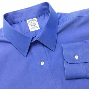 BROOKS BROTHERS Mens 16 35 Blue Supima Non Iron Long Sleeve Point Collar Shirt