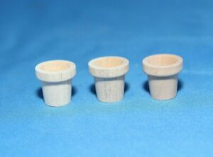 Miniature-Flower-Pot-3-Pc-Lot-New-Raw-Unfinished-Wood-Craft-Made-in-USA