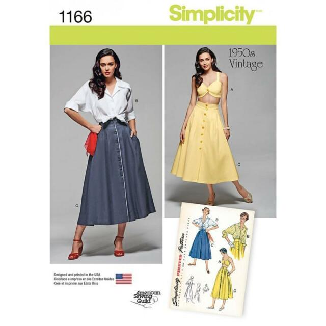 SIMPLICITY SEWING PATTERN MISSES' 1950S VINTAGE BLOUSE SKIRT & BRA TOP 6-24 1166