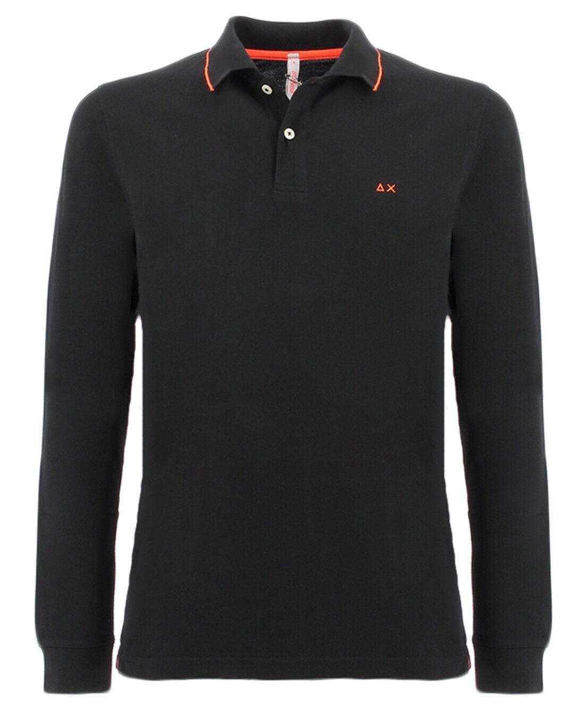 SUN68 blackes Polo mit fluoreszierendem orangefarbenem Profil für Männer Sun 6