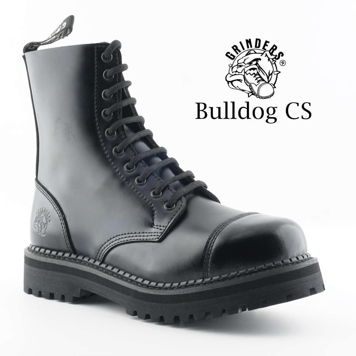 Grinders Bulldog CS Negro Cuero con Cordones Goodyear Welted botas Motorista Puntera De Acero