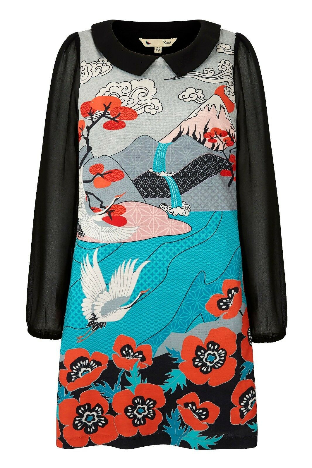 Yumi London Japanese-inspirot Print Long Sleeves Shift Dress S, M, L